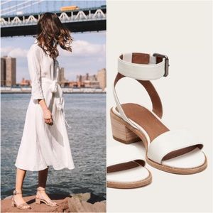 Frye Cindy Two-Piece Ivory Block Cute Sandal Heels